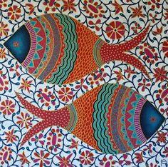 Pattern and Design: Tribal fish by Eliza Piro Mandala Art, Mandala Painting, Fabric Painting, Pichwai Paintings, Indian Art Paintings, Arte Tribal, Tribal Art, Madhubani Art, Indian Folk Art