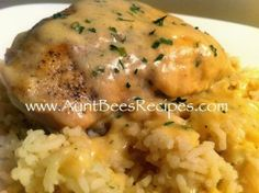 Chicken with Honey Mustard Gravy, over rice