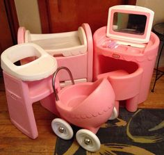 LOT Vintage Little Tikes Pink CHILD SIZE Vanity High chair Cradle/bassinet Buggy #LittleTikes