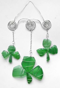 Sea Glass Shamrock Suncatcher Ornament for St by oceansbounty