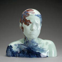 Ah Xian. Bust sculptures, beautiful painted Chinese porcelain ceramics, modern art.