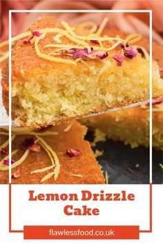 Our Flawless Lemon Drizzle Cake is a true crowd-pleaser at a British afternoon tea party. Our recipe is easy to follow, with UK and US measurements included. Use a 20 cm round cake tin for this lemon cake recipe. Once baked in the oven, poke holes in the cake and drizzle the lemon glaze all over the top, watch as the lemon syrup soaks through. Keep it simple as it is, or make it extra special for a Birthday cake by adding the decoration and flavour of Lemon Zest and edible Rose Petals. Best Dessert Recipes, Cupcake Recipes, Easy Desserts, Baking Recipes, Cookie Recipes, Delicious Desserts, Cupcake Cakes, Lemon Drizzle Cake, Cake Ingredients