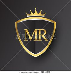 Initial logo letter MR with shield and crown Icon golden color isolated on black background, logotype design for company identity.