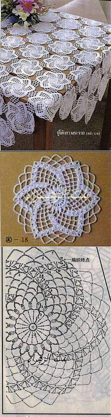 "Toalha de crochê com belo motivo [ ""Pretty design on cookies or top of cakes"", ""Tutorial for Crochet, Knitting."", ""Motif for tablecloth crochet pattern chart"" ] # # # # # # # # # Filet Crochet, Crochet Doily Diagram, Crochet Motifs, Crochet Blocks, Crochet Chart, Crochet Squares, Thread Crochet, Irish Crochet, Crochet Stitches"