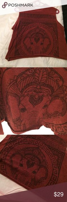 Elephant shirt From urban outfitters elephant shirt that I cut into a crop top Urban Outfitters Tops Crop Tops