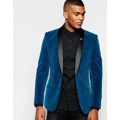 ASOS Skinny Blazer In Velvet ($115) ❤ liked on Polyvore featuring men's fashion, men's clothing, men's sportcoats, asos mens clothing and tall mens clothing