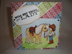 Handmade card featuring Crissy Armstrong for Whimsy Stamps 'Good Pony' coloured with Promarkers and the Waltzingmouse stamps 'Way Out West' and 'Back in the Saddle'