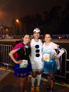 Run disney Frozen Anna, Olaf and Elsa running costume