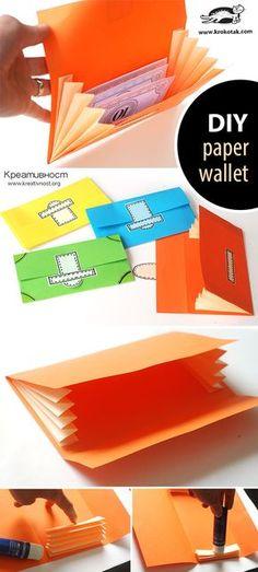 paper wallet diy for kids Diy Wallet Paper, Diy Wallet No Sew, Diy Wallet Easy, Diy Paper Purses, Paper Games, Paper Toys, Paper Crafts, 3d Paper, Art Crafts
