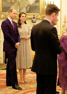 The Duke and Duchess of Cambridge looking really smart and proudly watch the Queen during the reception of the UK-India Year in Buckingham Palace || 27 February 2017