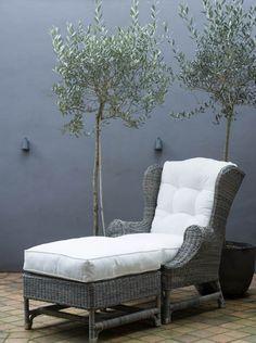 NICOLAS Outdoor Wing Back Arm Chair - Vintage Rattan