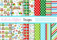 Digital Owl Christmas patterned papers in 8.5 by 11 and 12 by 12 for Personal and Small Commercial Use KlouiseDigiArt 2.50 USD