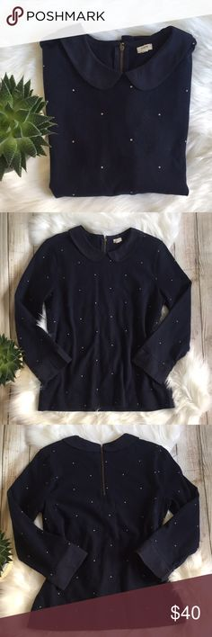 J. Crew | Peter Pan Collar Navy Sweater J. Crew Peter Pan Collar Navy Sweater with Light Pink Polka Dots! Super cute! Excellent condition, see photos for any flaws. Sweater: 100% cotton. Trim: 100% polyester. Size S. Bust: 15.5 Length: 23in. Offers welcome! J. Crew Factory Tops Blouses