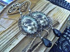 OFF Cameo Earrings Romantic Vintage Earrings Filigree Victorian Cameo Earrings Renaissance Dangling Earrings Cottage Chic Earrings Gothic Earrings, Vintage Earrings, Women's Earrings, Jewelry Accessories, Jewelry Design, Vintage Fashion, Vintage Style, Black Glass, Cottage Chic