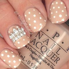 Nude Nails With White Polka Dots and Sequin Tiara Accent