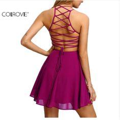 COLROVE Hot Pink Lace Up Cruz Sem Encosto Skater Mulheres Vestido A Linha de Spaghetti Strap Curto Sem Mangas Mini Vestido