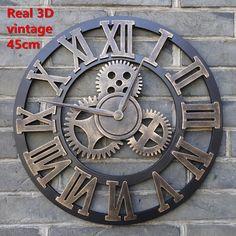 Настоящее 3D старинные декоративное искусство большой настенные часы большой на стене(China (Mainland))