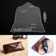 GBP - Acrylic Leathercraft Template Pattern For Glasses Case Bag Handmade Diy & Garden Leather Bag Pattern, Sewing Leather, Leather Wallet, Leather Diy Crafts, Leather Projects, Leather Craft, Diy Leather Card Holder, Leather Glasses Case, Handbag Patterns