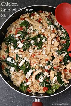 Chicken, spinach, orzo, tomatoes, and feta come together to create a simple, full meal in one skillet! A simple and flavorful skillet dinner.