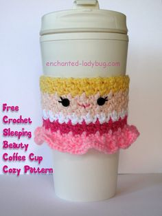 Free Crochet Sleeping Beauty coffee cup cozy pattern by The Enchanted Ladybug