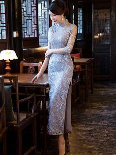 Inherent Chic Lace Qipao / Cheongsam Maxi Dress with Split