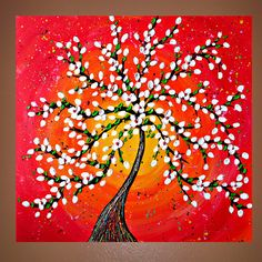 Red Tree Textured Painting on Canvas... would be so cute to use beading for the leaves/flowers... like a cherry tree