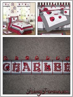 Black Ladybug, Dog Rooms, Name Plaques, Toddler Bed, Blanket, Red, Furniture, Home Decor, Child Bed