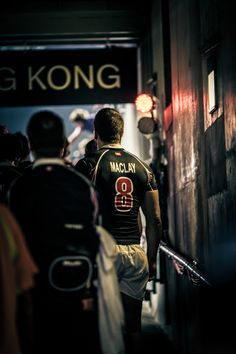 The back of a Hong Kong rugby player before entering to the rugby pitch