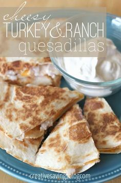 Whip up a quick and snazzy lunch that gives this traditional meat a non-traditional spin. The turkey, cheese, and a drizzle of ranch tucked inside a fluffy tortilla make the perfect combination. Such (Mini Chicken Quesadillas) Thanksgiving Leftover Recipes, Thanksgiving Leftovers, Holiday Recipes, Great Recipes, Favorite Recipes, Turkey Leftovers, Turkey Lunch Meat, Healthy Leftover Turkey Recipes, Turkey Meals