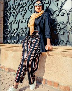 colorful striped pants-Hijab fashion and style – Just Trendy Girls