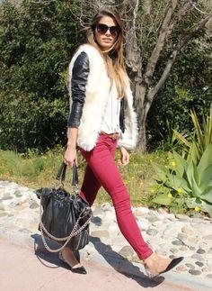 Jessie, fake fur, leather jacket, burgundy
