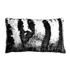 c0c63fdfccd23 Thro by Marlo Lorenz Mermaid Sequin Reversible Melody Lumbar Pillow Color   Black Silver