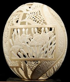 Carved ostrich egg with aquatic theme