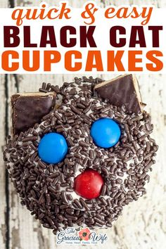Black Cat Cupcakes make a fun and easy non-spooky Halloween treat for kids! They're easy enough that anyone can make them! Fun project for kids to help with! So here's how to make your own Black Cat Cupcakes!   @graciouswife #easyhalloweencupcakes #funhalloweencupcakes #quickhalloweencupcakes #halloweenparty #diyhalloweenparty #halloweentreats