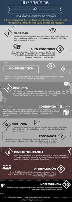 Las 10 características que definen una buena cuenta de Twitter. Infografía en español. #CommunityManager