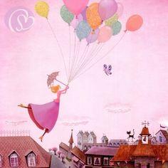 Postkarte Mädchen mit Luftballons