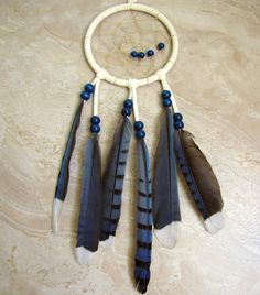 Blue Black and Ivory Feather Dream Catcher  by peacefrogdesigns, $30.00