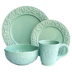 16-Piece Isabella Round Dinnerware Set in Jade Blue