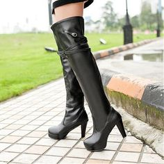 Womens Shoes, Womens Boots, Stunning PU Buckle Red Round Closed Toe wedges Super High Heel Boots