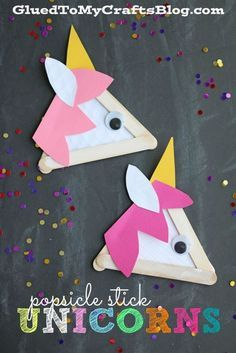Popsicle Stick Unicorns - Kid Craft from Glued to my Crafts Blog
