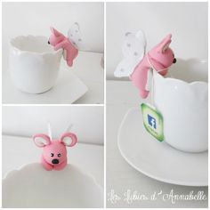 Porte sachet de thé ou Support sachet de thé souris petite fée
