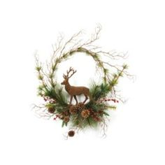 CC Christmas Decor Pack of 4 Rustic Lodge Deer  Pine and Red Berry Artificial Christmas Wreaths 20