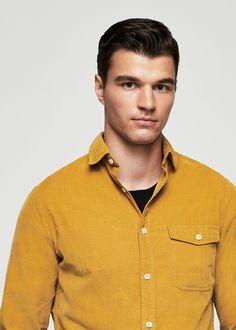 Camisa slim-fit algodón pana - Camisas de Hombre | MANGO Man España