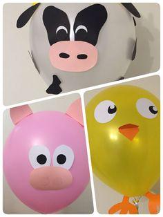 No photo description available. Party Animals, Farm Animal Party, Farm Animal Birthday, Barnyard Party, Farm Birthday, Farm Party, Balloon Animals, 2nd Birthday Parties, Animal Balloons