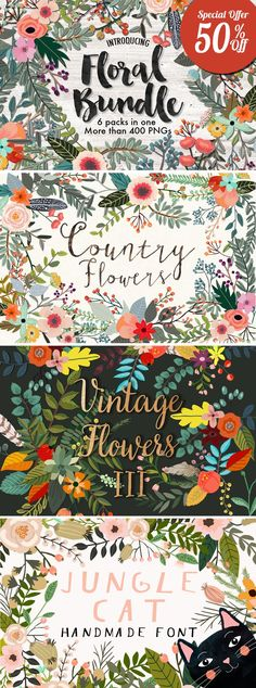Floral Bundle by Mia Charro on Creative Market #designtools #illustration #floral #downloads