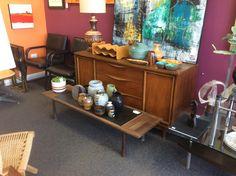 Walnut buffet, art and mcm pottery. Buffet, Pottery, Retro, House, Furniture, Home Decor, Art, Ceramica, Art Background