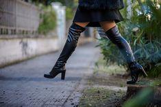 Elvio zanon stivali sopra ginocchio - fashion blog Eleonora Petrella Tall Boots, Knee Boots, Black Leather, Shoes, Fashion, Proposal, Knee High Boots, Stretch Knee High Boots, Moda