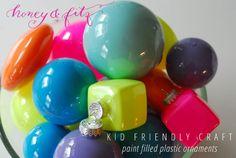Kid Friendly Craft – Painted Plastic Ornaments via Honey & Fitz #christmas #crafts #diy #ornaments