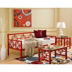 @Overstock.com - Medallion Salsa Red Twin Daybed - This versatile Medallion Twin Daybed features a classic design that fits in perfectly with any decor. This deep daybed provides ample seating and sleeping space and has plastic leg glides to protect floors from being scratched.  http://www.overstock.com/Home-Garden/Medallion-Salsa-Red-Twin-Daybed/6620905/product.html?CID=214117 $469.99