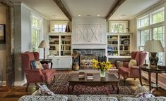 Beautiful Farmhouse Living Room Ideas! Find some of the best farmhouse themed living room decorations and designs that you can use for inspiration. We have modern farm home living rooms and more. Living Room New York, Home Living Room, Living Room Designs, Kitchen Living, Modern Farmhouse Design, Farmhouse Interior, Farmhouse Style, Farmhouse Windows, Farmhouse Decor